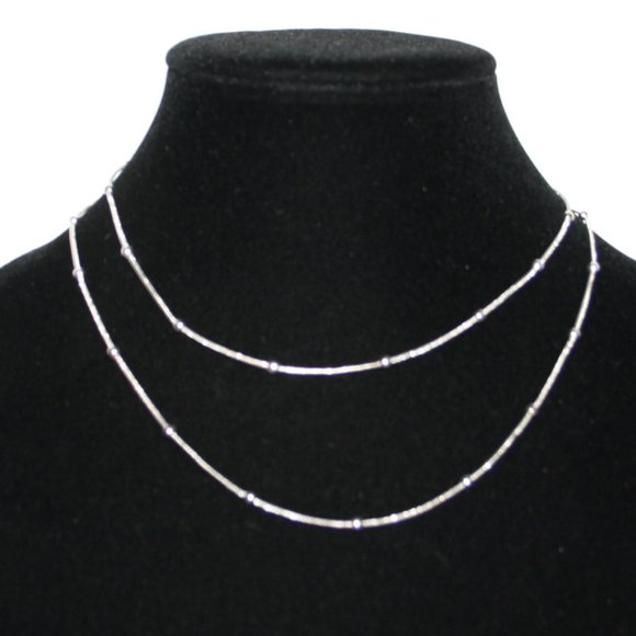 """Vintagejelyfish Jewelry - Long 34"""" silver snake chain necklace with balls"""